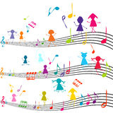 Music note with kids playing Stock Image