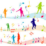 Music note with kids silhouettes dancing. Music note with colored kids silhouettes dancing Royalty Free Stock Images