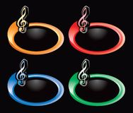 Music note on multicolored rings Royalty Free Stock Photo