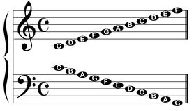 Music Note Names. The names of the notes for the bass and treble clef isolated on white royalty free illustration
