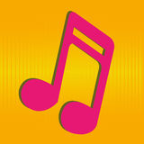 Music note. No special orange and yellow background Royalty Free Stock Images