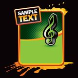 Music note orange grungy banner Royalty Free Stock Images