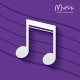 Music note over striped background design Royalty Free Stock Image