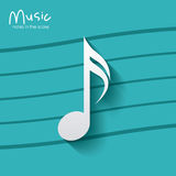 Music note over striped background design Stock Image
