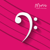 Music note over striped background design Stock Photo