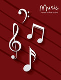 Music note over striped background design Stock Photography