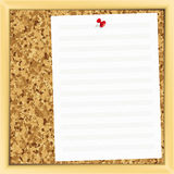 Music note paper on cork board. Stock Images