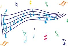 Music note in perspective Royalty Free Stock Images