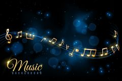 Music note poster. Musical background, musical notes swirling. Jazz album, classical symphony concert announcement stock illustration