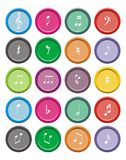 Music note round icon sets Royalty Free Stock Image
