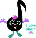 Music Note Saying I Love Music. This Music Note loves music stock illustration