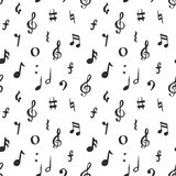 Music note seamless pattern vector illustration. Hand drawn sketched doodle music notes symbols Stock Image