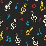 Music note seamless pattern vector illustration. Hand drawn sketched doodle music notes symbols Stock Images