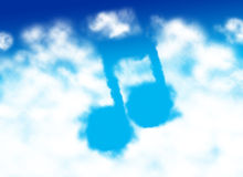 Music note shaped cloud Stock Photography