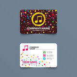 Music note sign icon. Musical symbol. Business card template with confetti pieces. Music note sign icon. Musical symbol. Phone, web and location icons. Visiting stock illustration
