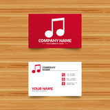 Music note sign icon. Musical symbol. Business card template. Music note sign icon. Musical symbol. Phone, globe and pointer icons. Visiting card design. Vector royalty free illustration