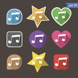 Music note sign icon. Musical symbol. 9 buttons. Vector. Music note sign icon. Musical symbols inside star, heart, 9 buttons. Vector illustration vector illustration