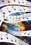 Music note and Space and stars with abstrtact Royalty Free Stock Images