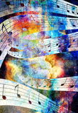 Music note and Space and stars with abstrtact Stock Photo