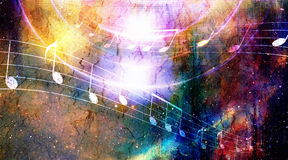 Music note and Space and stars with abstrtact color background. Royalty Free Stock Photography