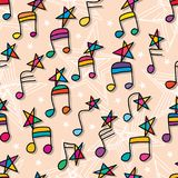Music note star like follow seamless pattern Royalty Free Stock Image