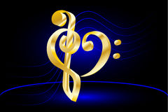 Music note stave and heart violin and bass clef. Heart - violin and bass clef Music note stave and heart violin and bass clef royalty free illustration