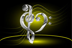 Music note stave and heart violin and bass clef. Heart - violin and bass clef Music note stave and heart violin and bass clef vector illustration