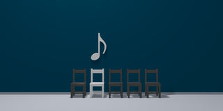 Music note symbol over row of chairs Royalty Free Stock Photography