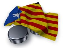 Music note symbol symbol and flag of catalonia Royalty Free Stock Photo