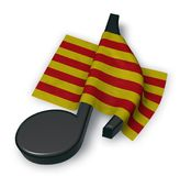 Music note symbol symbol and flag of catalonia Stock Image