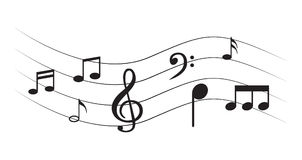 Music Note with symbols Stock Photos
