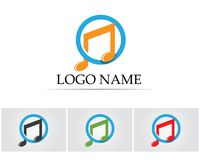 Music note symbols logo and icons template.  Royalty Free Stock Photo