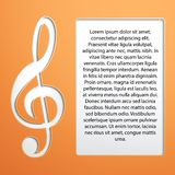 Music Note - treble clef. Treble clef background paper to the field for the text. Vector Illustration, editable and , eps10 royalty free illustration