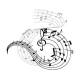 Music note and treble clef on swirling stave icon. Music note stave icon of musical notation symbols. Swirling musical staff with notes of different duration Royalty Free Stock Image