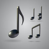 Music note vector icons. Four music note icons on grey background. 3d realistic vector set created with gradient mesh Royalty Free Stock Image