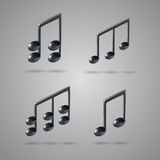 Music note vector icons. Four music note icons on grey background. 3d realistic vector set created with gradient mesh Royalty Free Stock Photo