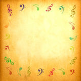 Music note on vintage paper. For background stock photos