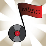 Music note with vinyl head. And a music flag Royalty Free Stock Image