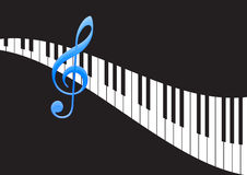 Music Note and wavy piano keyboard. In black background Stock Image