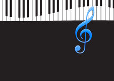 Music Note and wavy piano keyboard. In black background Royalty Free Stock Photo