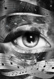 Music note and woman eye, abstract color Stock Photo