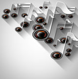 Music Note and Woofer Background Stock Photo