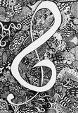 Music Note Zen Tangle royalty free stock photography