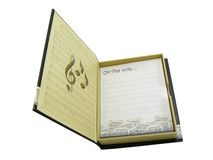 Music notebook. Paper pads with music symbols in a theme box isdolated on white Stock Photos