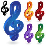 Music Notes. Set of 6 musical notes Royalty Free Stock Photos