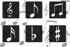 Music notes. White music notes in black frame Royalty Free Stock Image