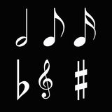 MUSIC NOTES. Set of illustrations of different music notes stock illustration