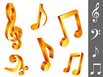 Music notes. Set of 6 golden music notes, isolated on white background Royalty Free Stock Image