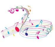 Music notes. Wirh rainbow wave line for design use, vector illustrat Stock Photo