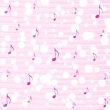Music Notes and Bokeh in Pink Watercolor Pattern Background royalty free illustration